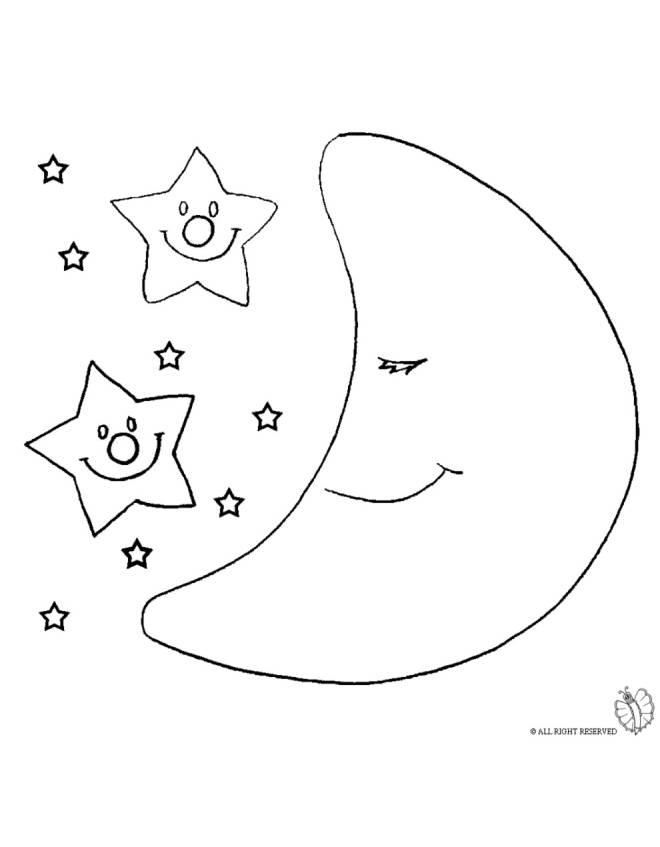 Disegno di luna e stelle da colorare per bambini for Stelle da colorare per bambini