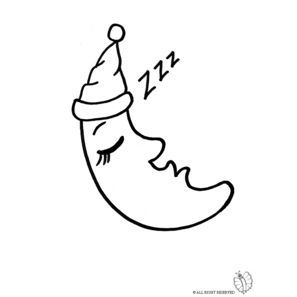 Disegno Di Luna Che Dorme Da Colorare Per Bambini