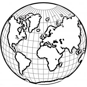 Disegno di mondo da colorare per bambini gratis - Foto della mappa del mondo da stampare ...