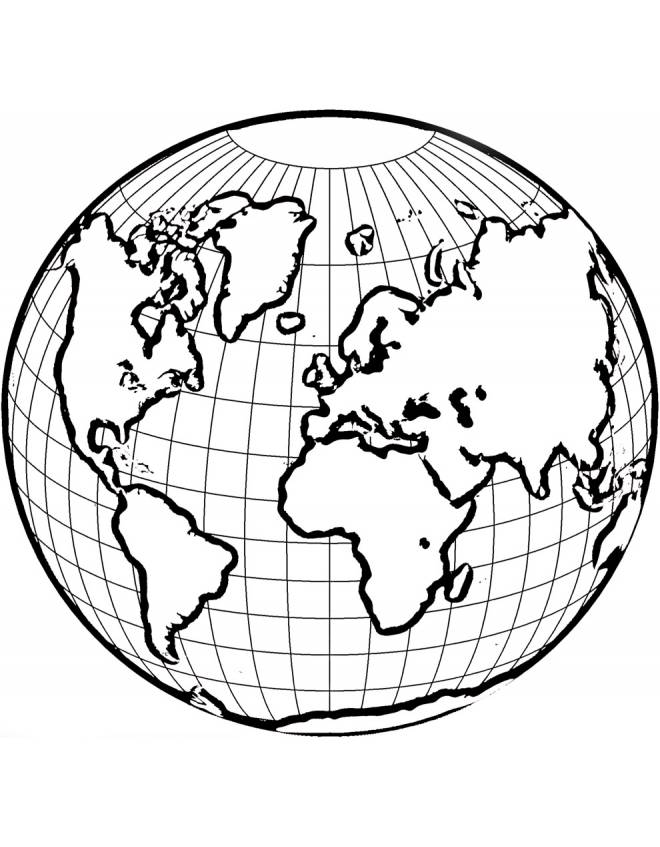 Disegno di mondo da colorare per bambini - Immagine da colorare della terra ...