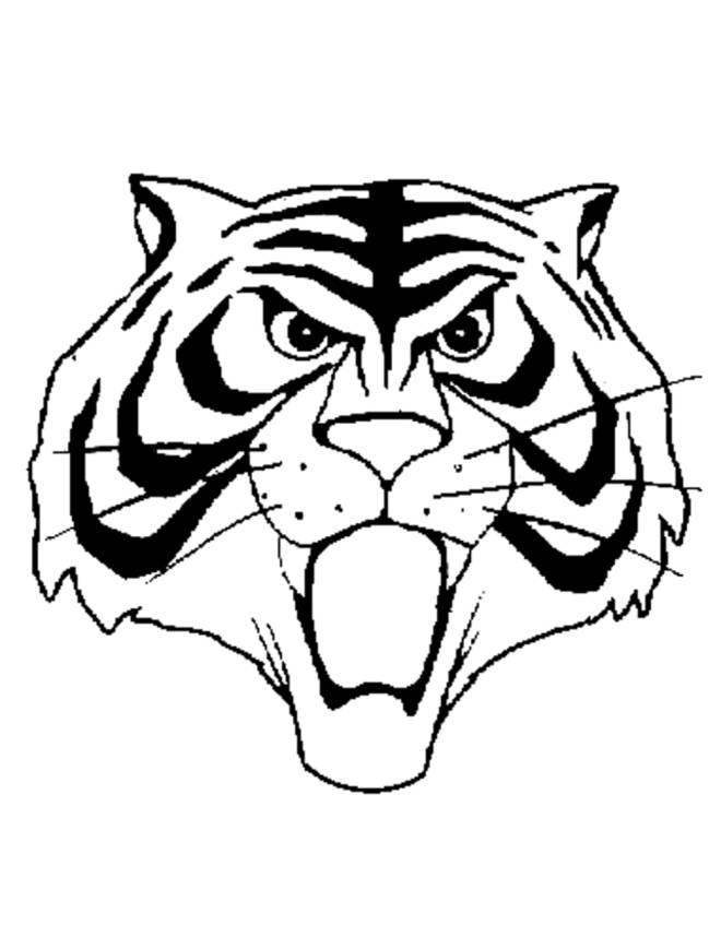 disegno di maschera uomo tigre da colorare per bambini