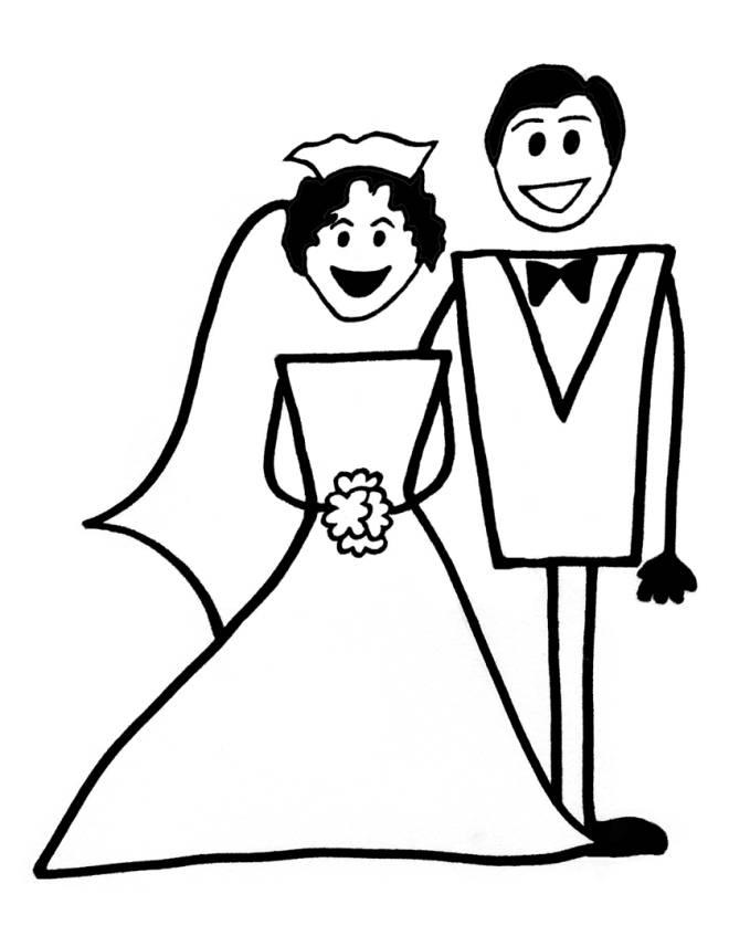 Disegno di matrimonio da colorare per bambini for Disegni sposi stilizzati