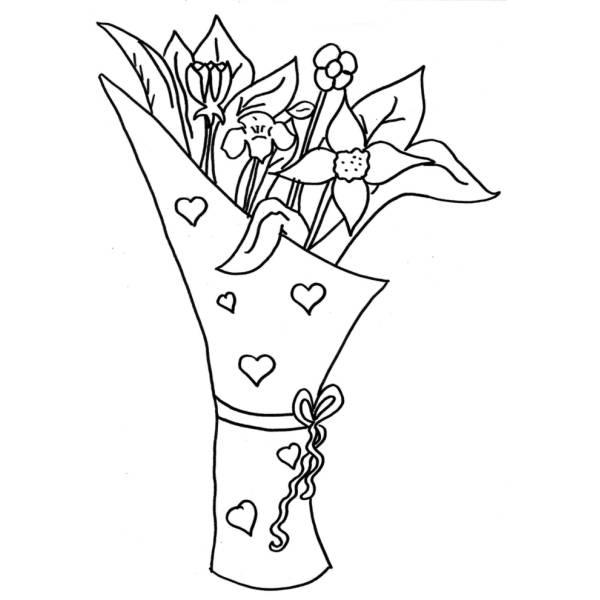 Mazzo Di Fiori Immagini Da Colorare.Disegno Di Mazzo Di Fiori Da Colorare Per Bambini
