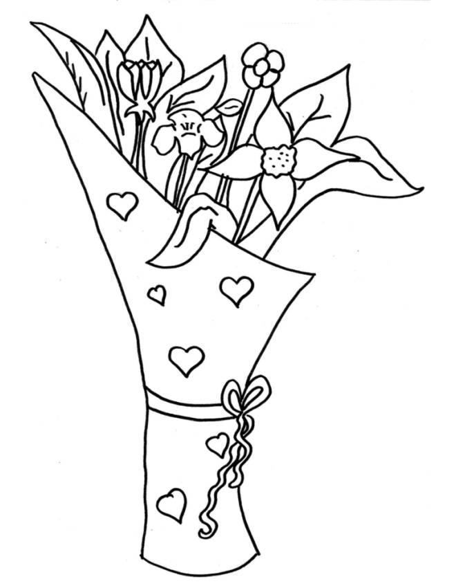 Stampa disegno di mazzo di fiori da colorare for Immagini di fiori facili da disegnare
