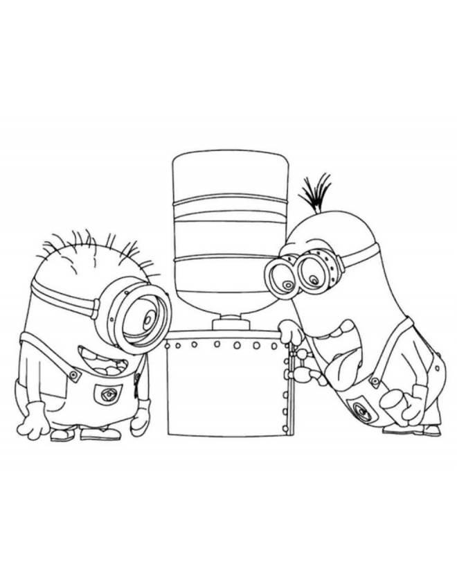 Disegni Da Colorare Minions On Line.Disegno Di Minions Che Bevono Da Colorare Per Bambini
