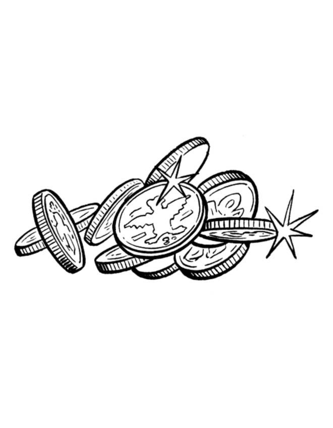 Disegno di monete da colorare per bambini - Immagini francesi da stampare ...