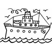 Disegno di Nave con Scialuppe da colorare