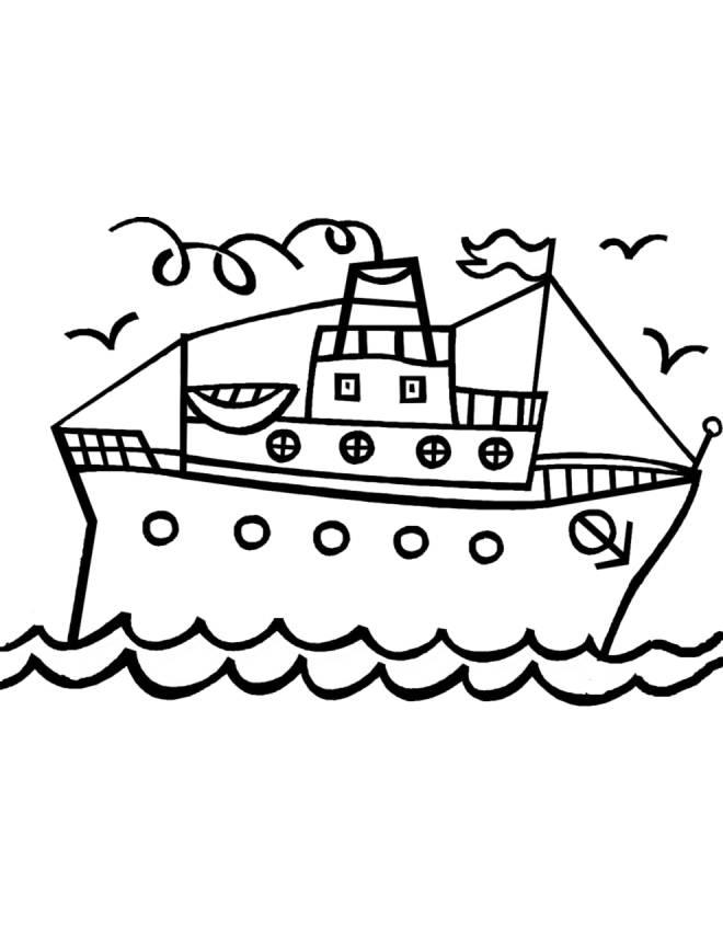 Disegno Di Nave Con Scialuppe Da Colorare Per Bambini