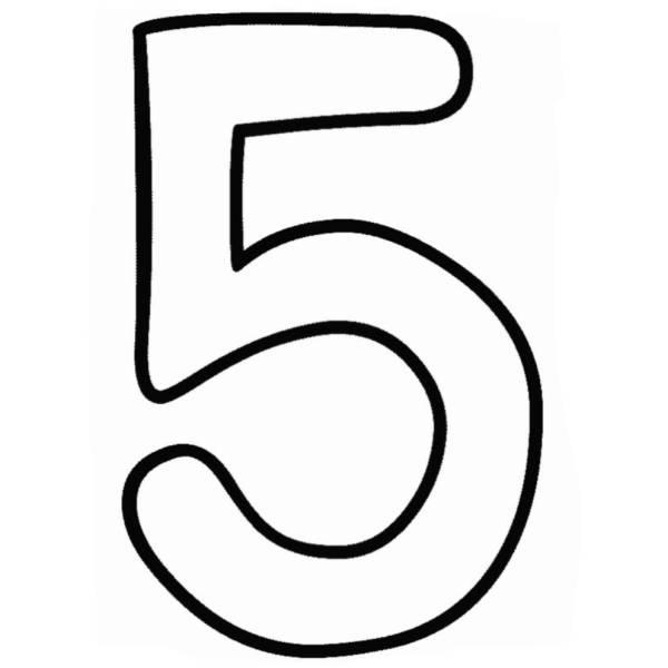 Disegno di Numero Cinque da colorare