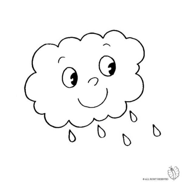 Disegno di nuvola con pioggia da colorare per bambini for Nuvola da colorare
