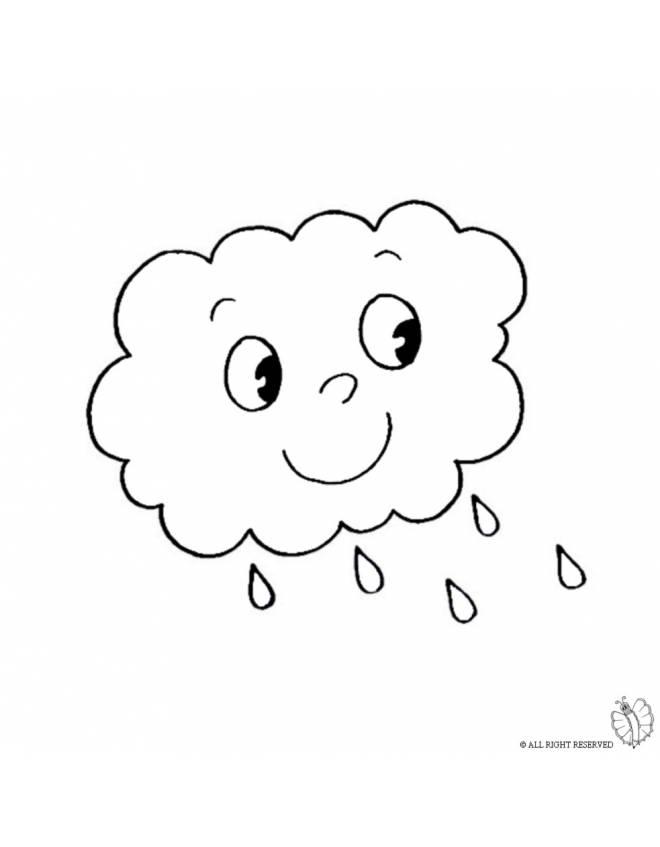 disegno di nuvola con pioggia da colorare per bambini