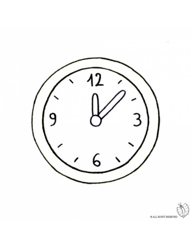 Disegno di orologio a parete da colorare per bambini for Disegni da parete
