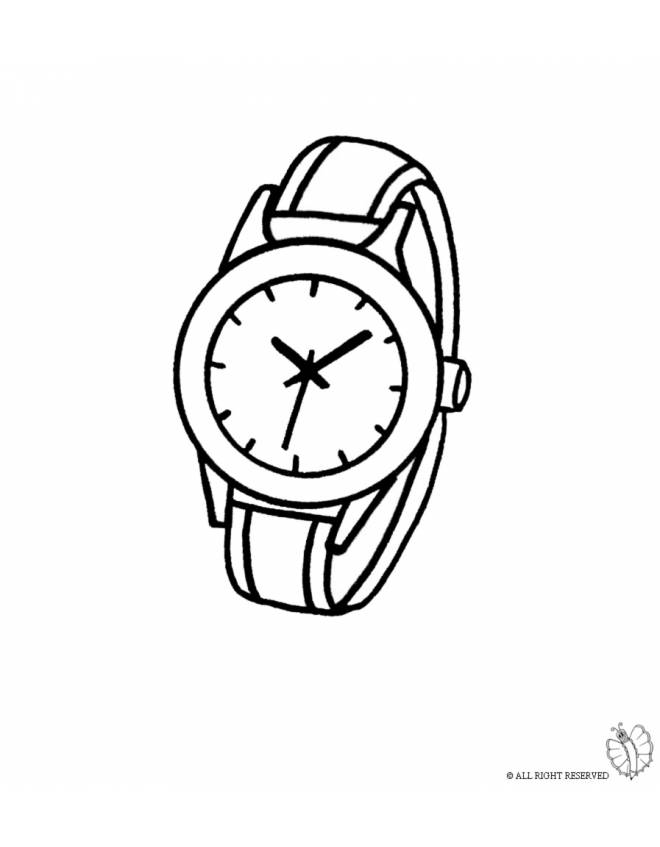Disegno di orologio da polso colorare per bambini