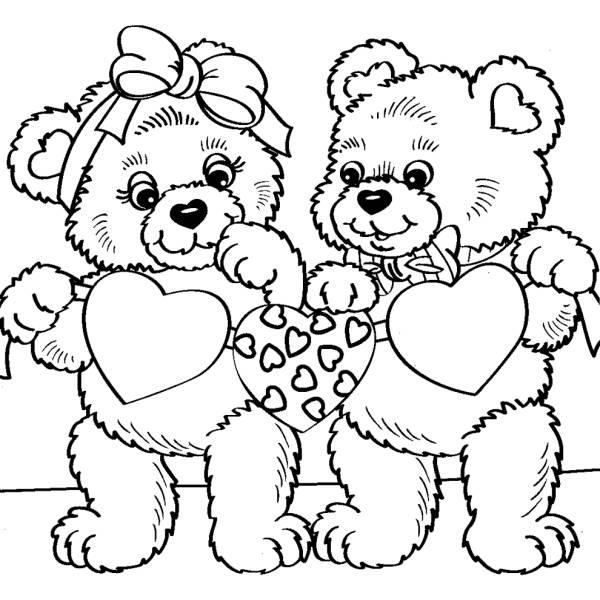 Disegno di orsacchiotti con cuori da colorare per bambini for Disegni di cuori da stampare gratis