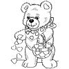 Disegno di Orso con Cuoricini da colorare
