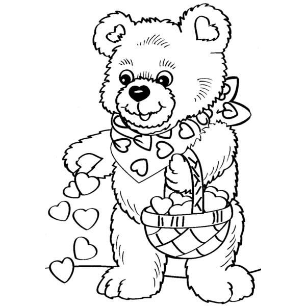 Disegno Di Orso Con Cuoricini Da Colorare Per Bambini