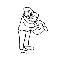 Disegno di Padre e Figlio Abbracciati da colorare