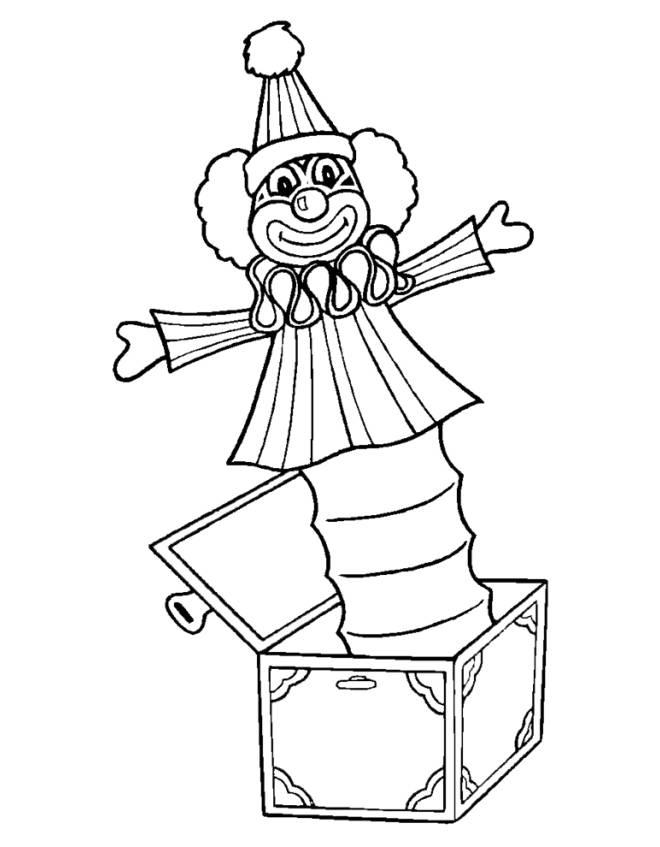 Disegno Di Pagliaccio Nella Scatola Da Colorare Per Bambini