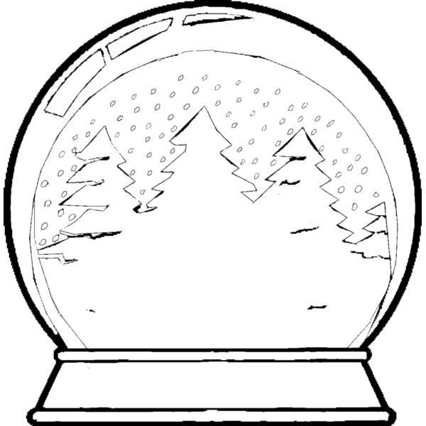Disegno di Palla di Vetro con Neve da colorare
