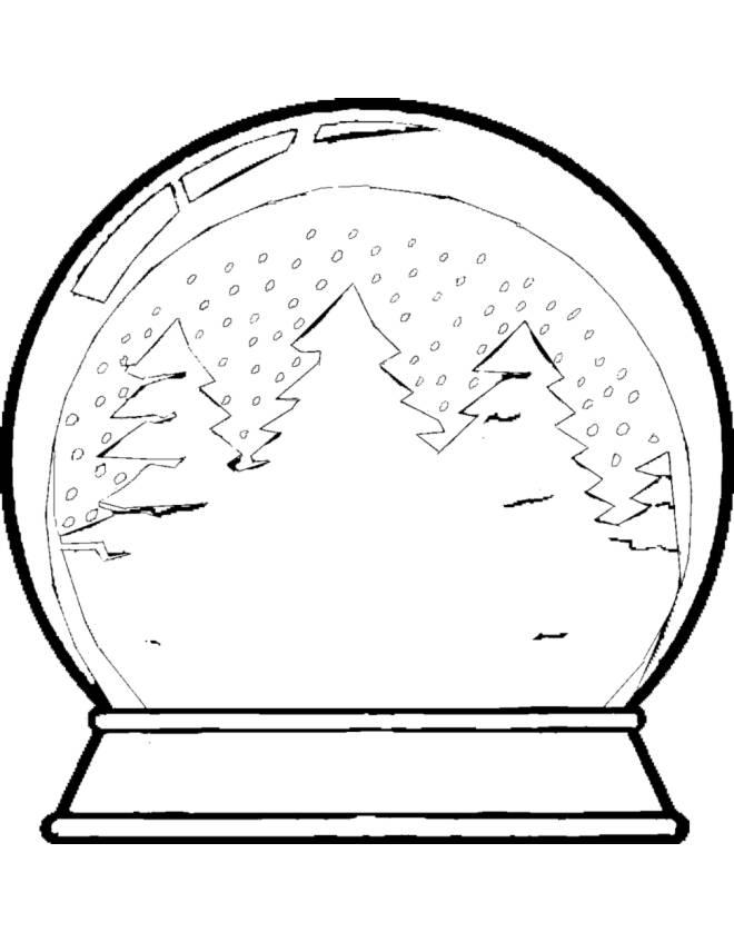 Disegno di palla di vetro con neve da colorare per bambini - Disegni di natale per finestre ...