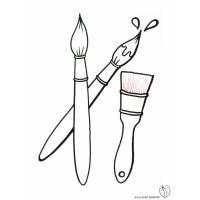 Disegno di Pennelli e Pennellessa da colorare
