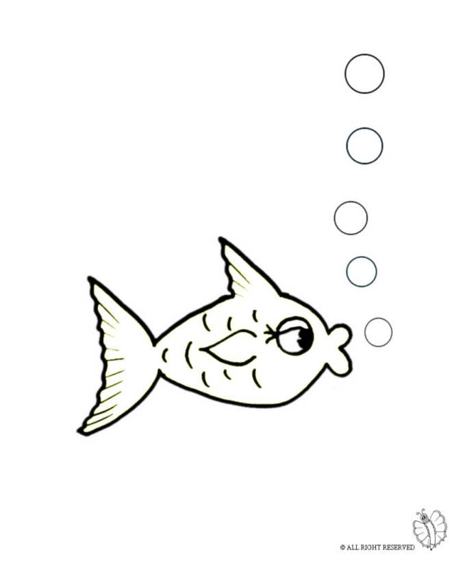 Disegno di pesce e bollicine da colorare per bambini for Pesciolini da colorare per bambini