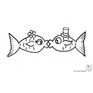 Disegno di pesci innamorati da colorare per bambini gratis for Pesci immagini da colorare
