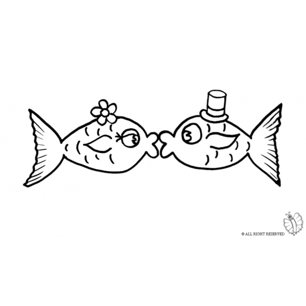 Disegno di pesci innamorati da colorare per bambini for Pesci da stampare e colorare