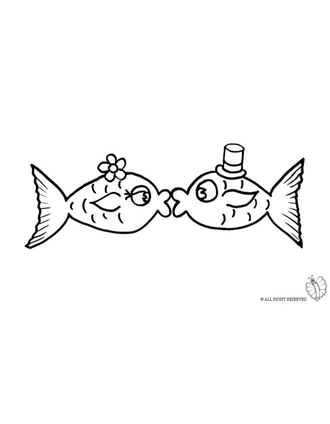 Disegno di pesci innamorati da colorare per bambini for Pesciolini da colorare per bambini