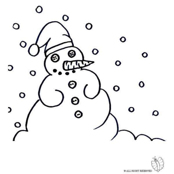 Disegno di pupazzo di neve da colorare per bambini - Pupazzo di neve pagine da colorare ...