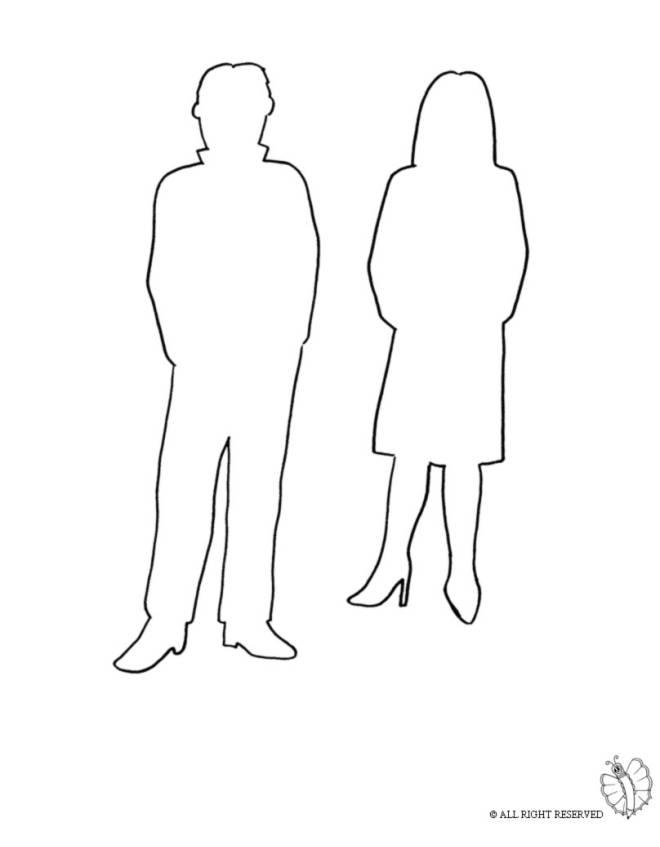 Disegno di uomo e donna da colorare per bambini for Disegni da colorare e ritagliare per bambini