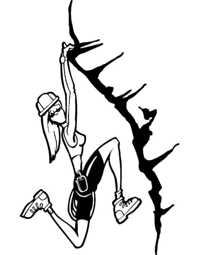Disegno di scalatrice da colorare per bambini for Piccoli disegni di baite di montagna