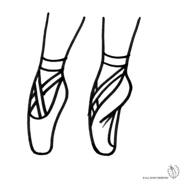 Disegno di Scarpe Ballerina da colorare per bambini ...