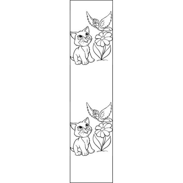 Disegno di Segnalibro Gattino e Uccellino da colorare