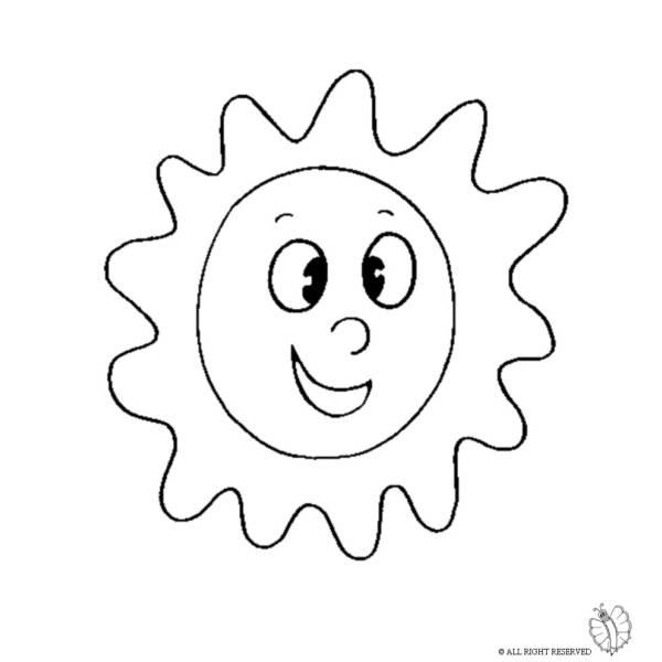 Disegno di sole da colorare per bambini for Immagini sole da colorare