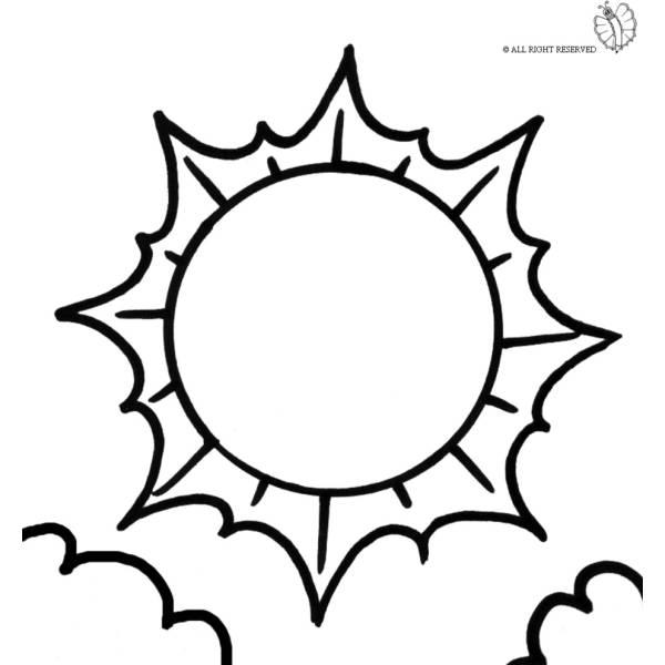 Immagine Sole Da Colorare.Disegno Di Sole E Nuvole Da Colorare Per Bambini