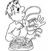 Disegno di Spaghetti al Pomodoro da colorare
