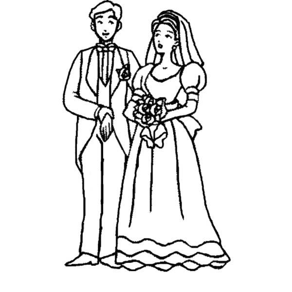 Disegno di Sposi con Bouquet da colorare