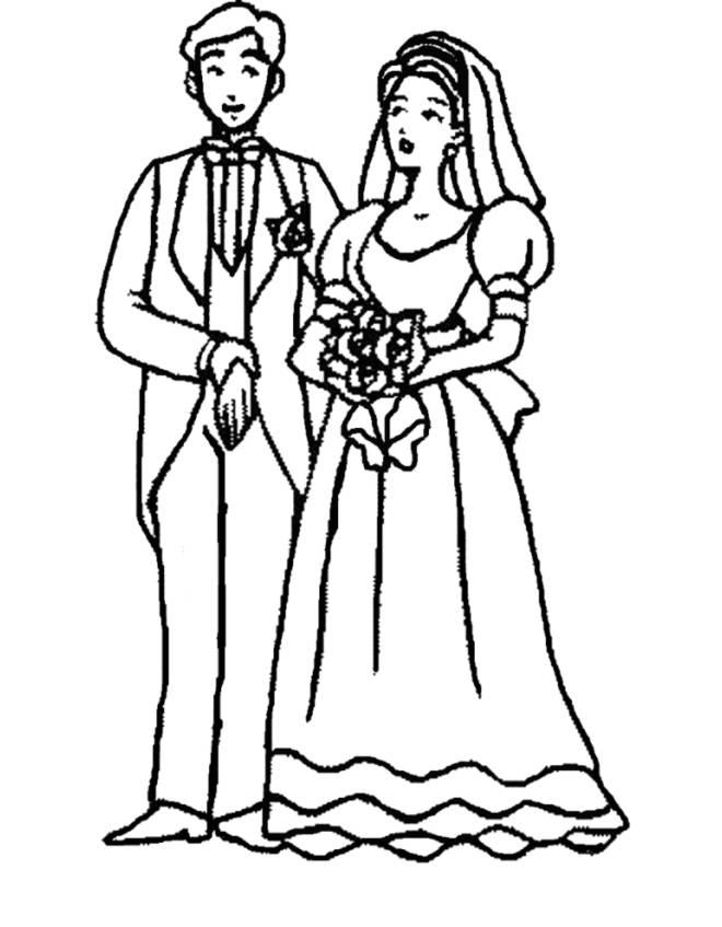 stampa disegno di sposi con bouquet da colorare