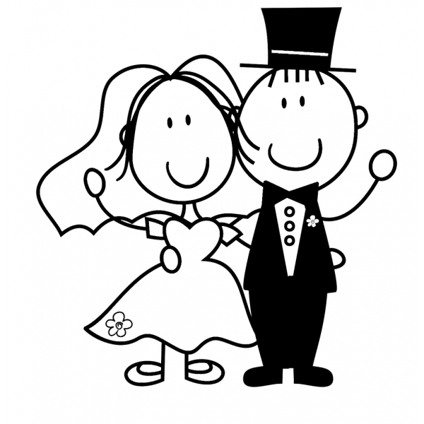 Disegno di sposi da colorare per bambini