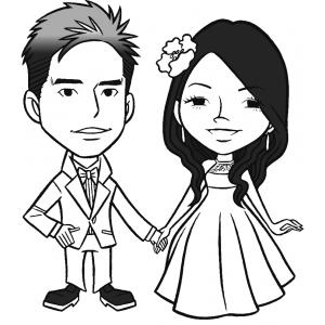 Disegno di gli sposi novelli da colorare per bambini for Sposi immagini