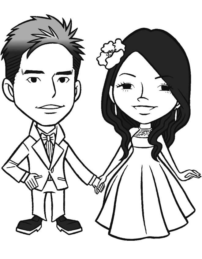 Disegno di gli sposi novelli da colorare per bambini for Disegno sposi