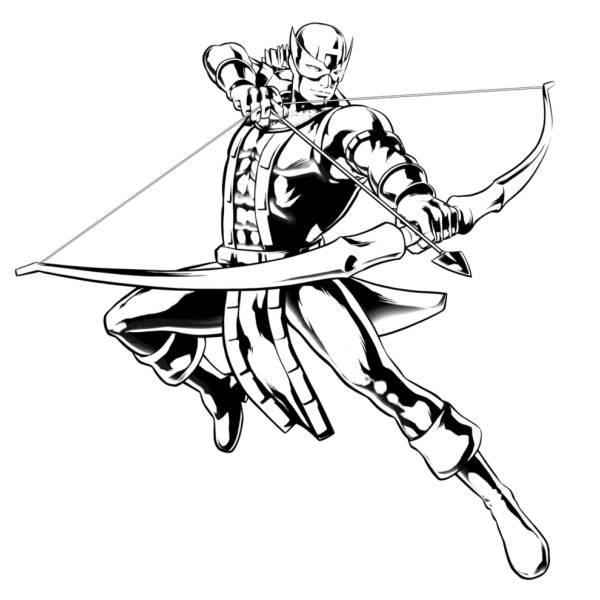 Disegno Di Hawkeye The Avengers Da Colorare Per Bambini
