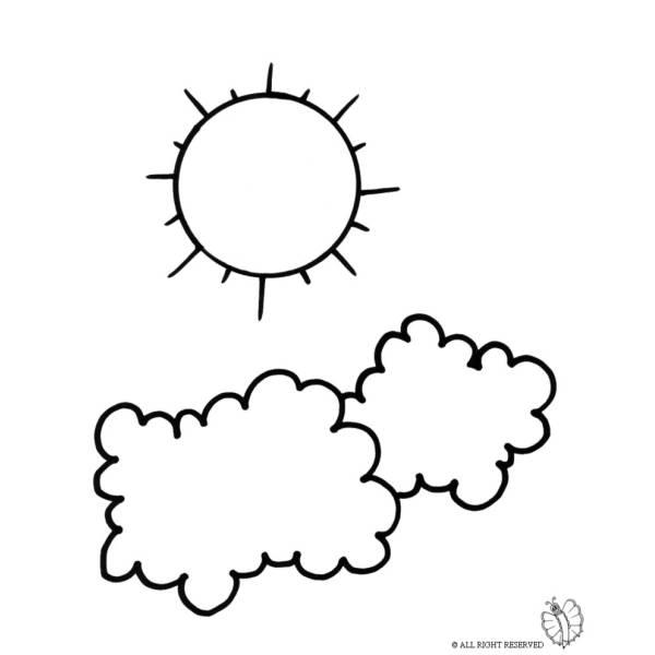 Disegno di sole e nuvole da colorare per bambini for Nuvola da colorare