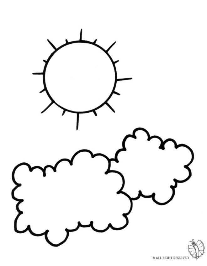 Disegno Di Sole E Nuvole Da Colorare Per Bambini