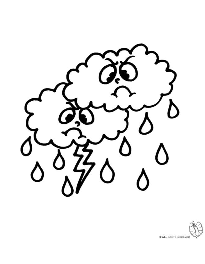 Disegno Di Nuvole Pioggia E Fulmini Da Colorare Per Bambini