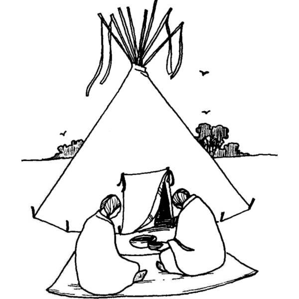 Disegno di tenda degli indiani da colorare per bambini - Disegno finestra da colorare ...