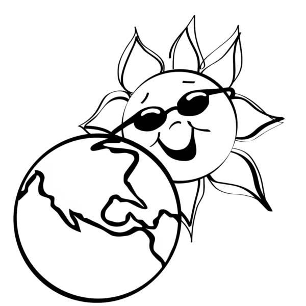 Disegno di La Terra e Il Sole da colorare