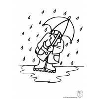 Disegno di Uomo Sotto La Pioggia da colorare