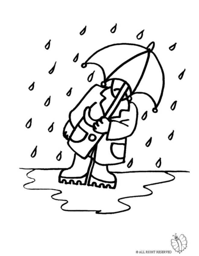 Stampa Disegno Di Uomo Sotto La Pioggia Da Colorare